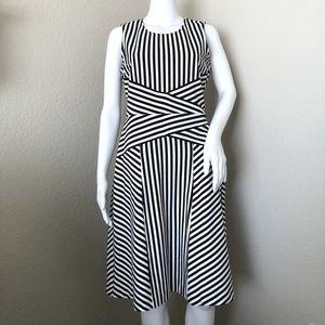 Carlisle Dress Black White Stripe Sleeveless 6